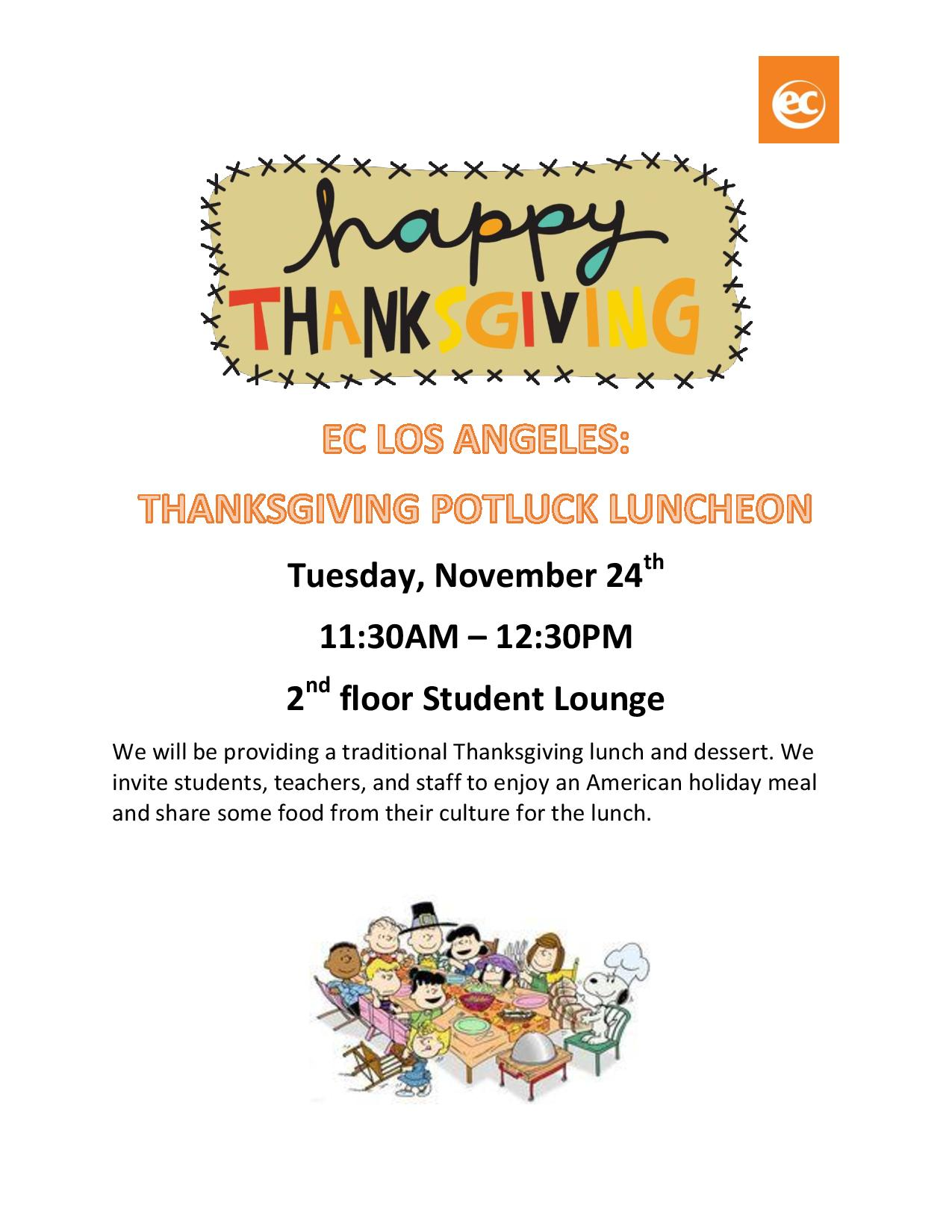 Join us at our Thanksgiving Potluck on November 24th!