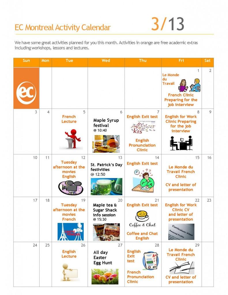 Academic Social Calendar March