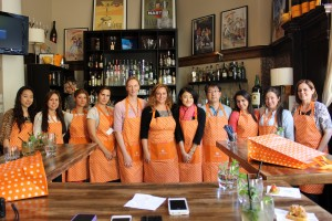 group photo with aprons