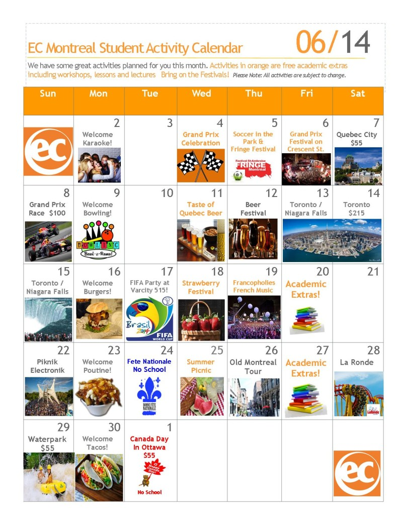 academic and social free activities JUNE