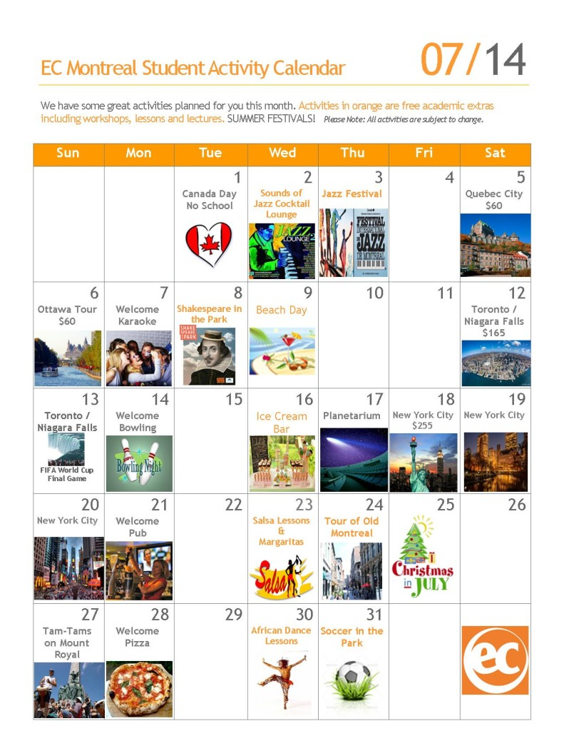 academic and social free activities JULY