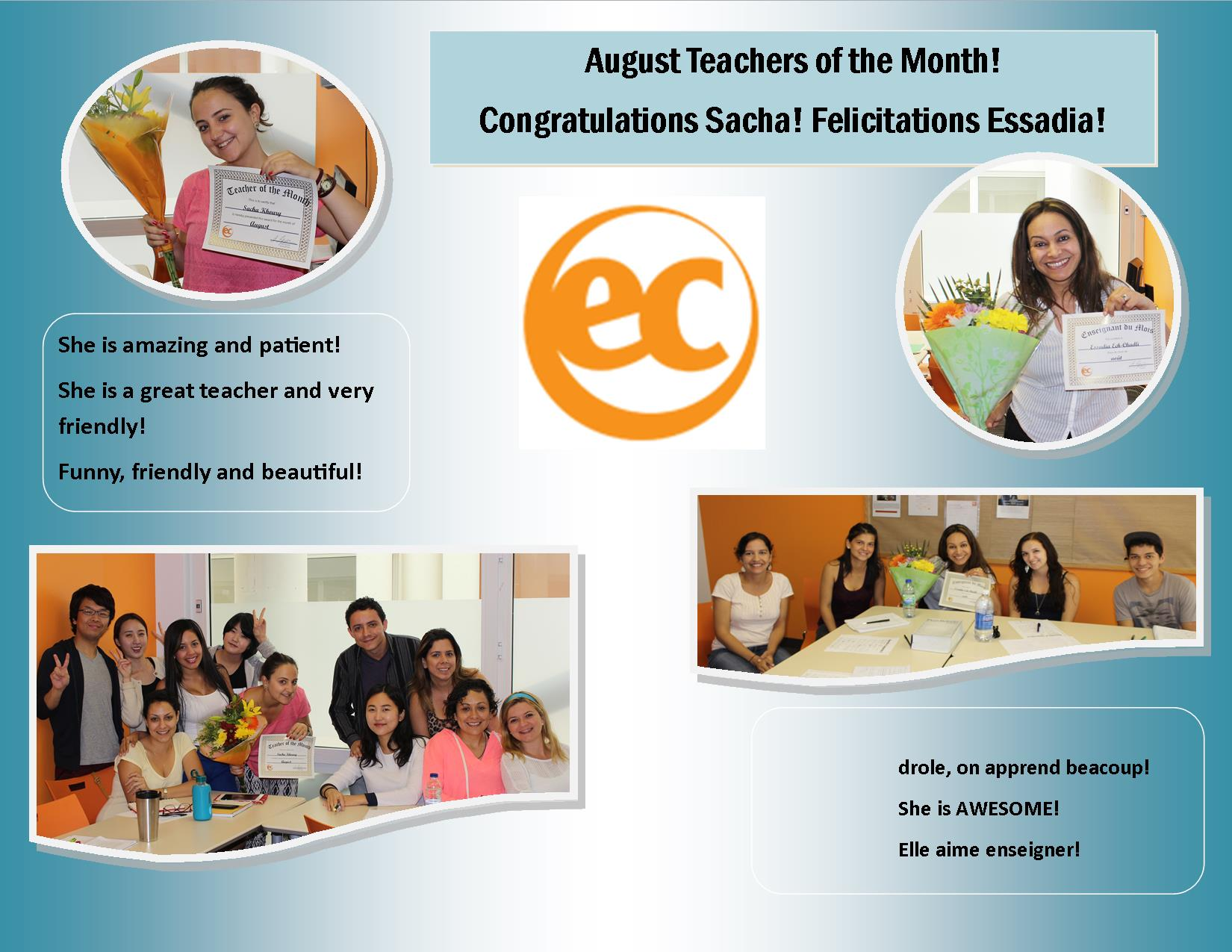 EC Montreal's August Teachers of the Month!