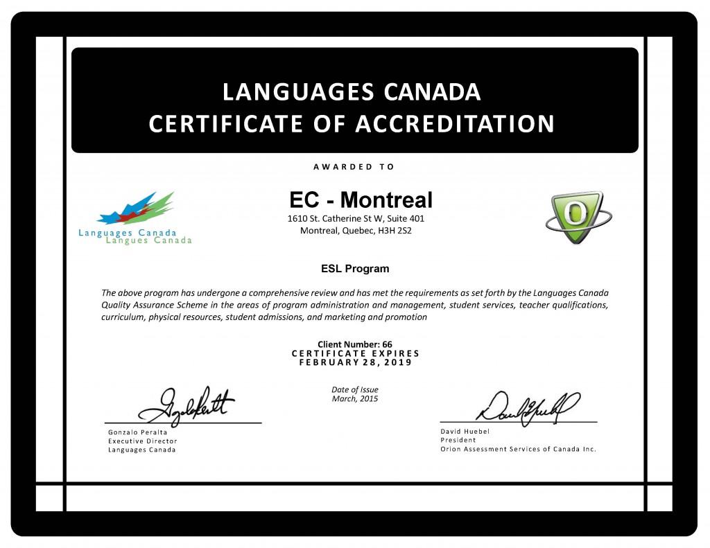 LC certificate English