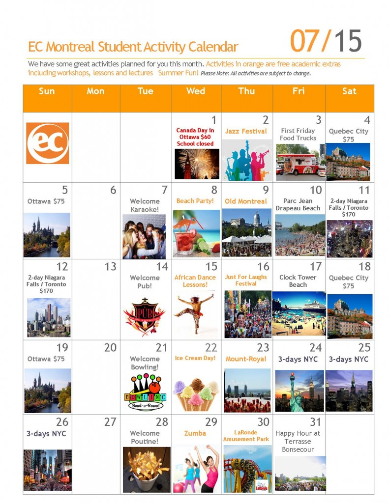 calendar of events july  2015