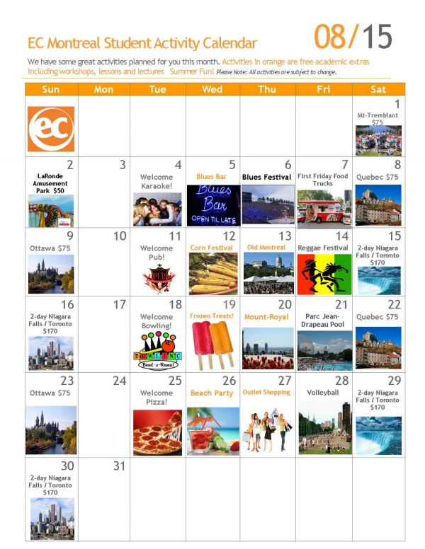 calendar of events august  2015