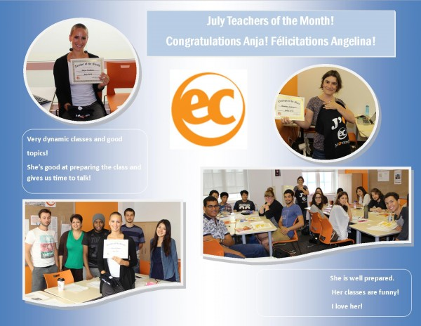 EC Montreal's July Teachers of the Month!