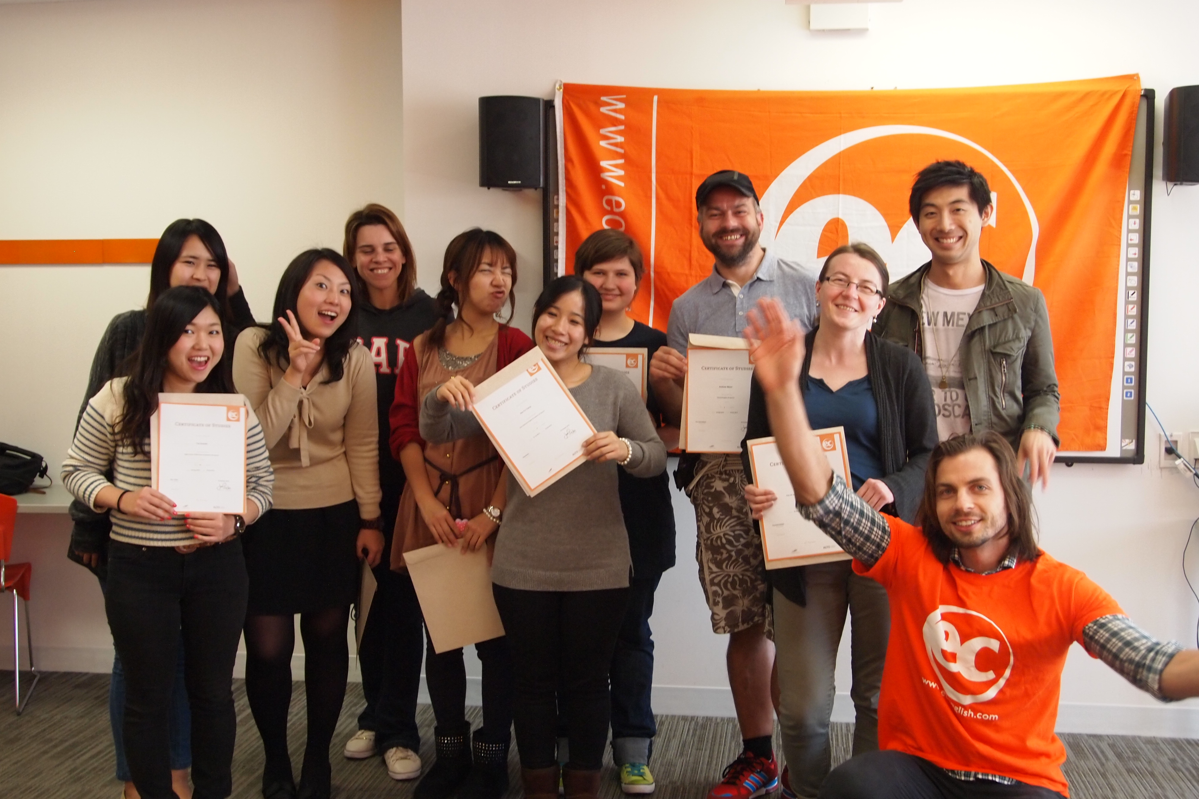 Students receive English course certificates at EC Toronto