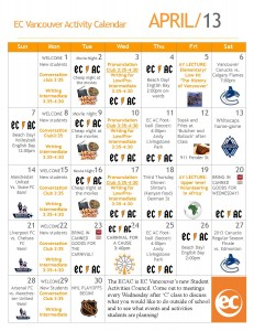 EC Activities Calendar - April 2013