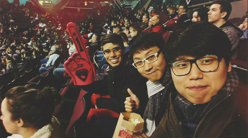 Nilo during a hockey games with his friends
