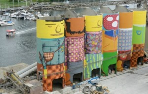 Painted silos by OSGEMEOS