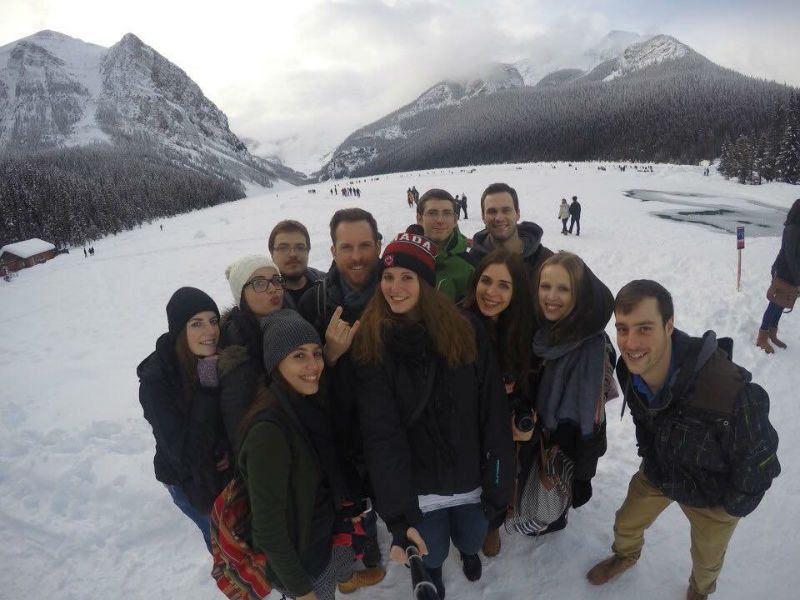 Florian and his friends on a frozen lake close to the Rockies