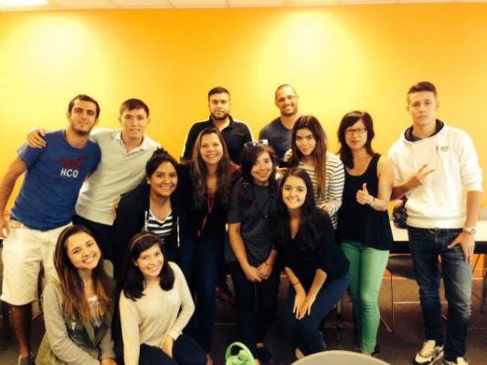Iskander with classmates at EC Vancouver English School