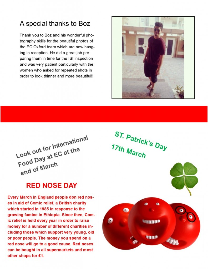 EC Oxford English Langauge Students support British charity Comic Relief