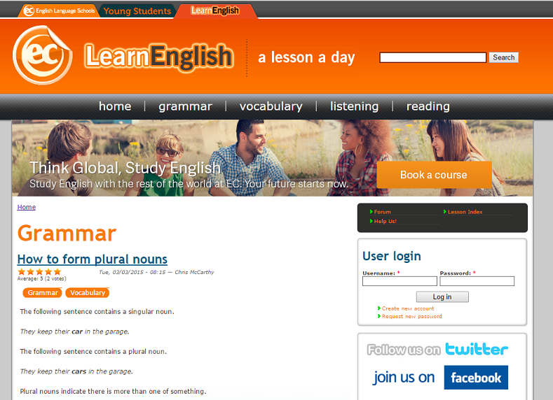Learn English on an adult English course in London