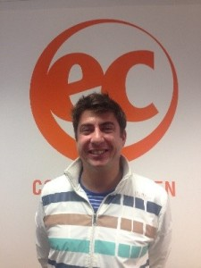 Eduardo on his last day of English for Work at EC London 30+. Here is his testimony describing his experience on his adult English course in London.