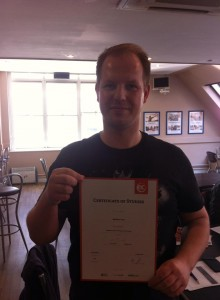 Matthias Pohl, German with his certificate after 3 weeks in an English for work course.