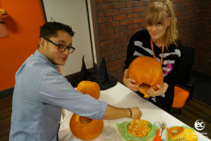 EC Staff participating in the pumkin carving competition