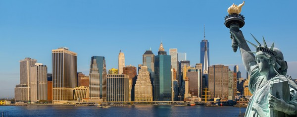 Symbols of New York. Manhattan Skyline and The Statue of Liberty, New York City