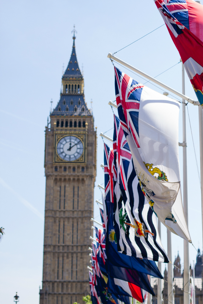 Big Ben and British flags