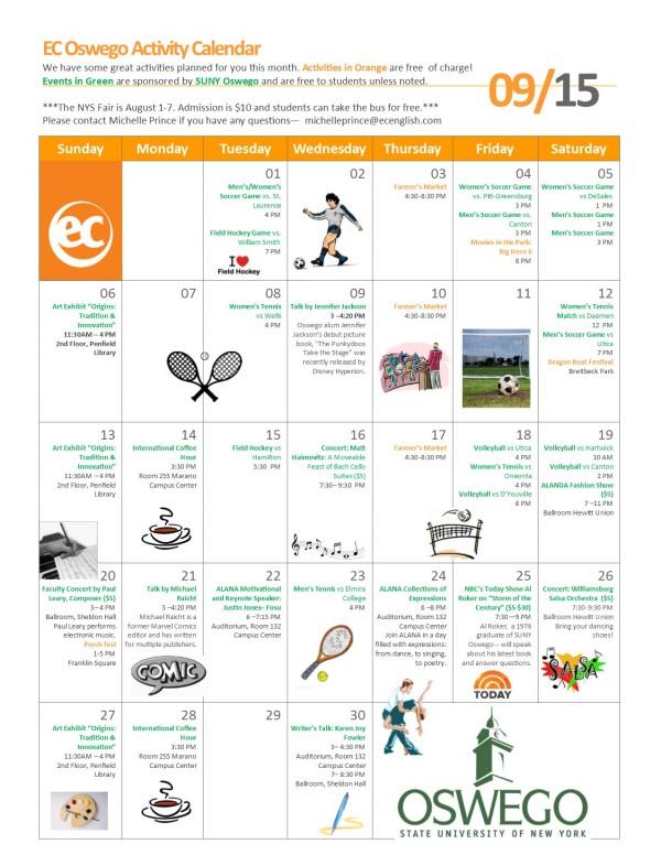EC Oswego September 2015 Activity Calendar
