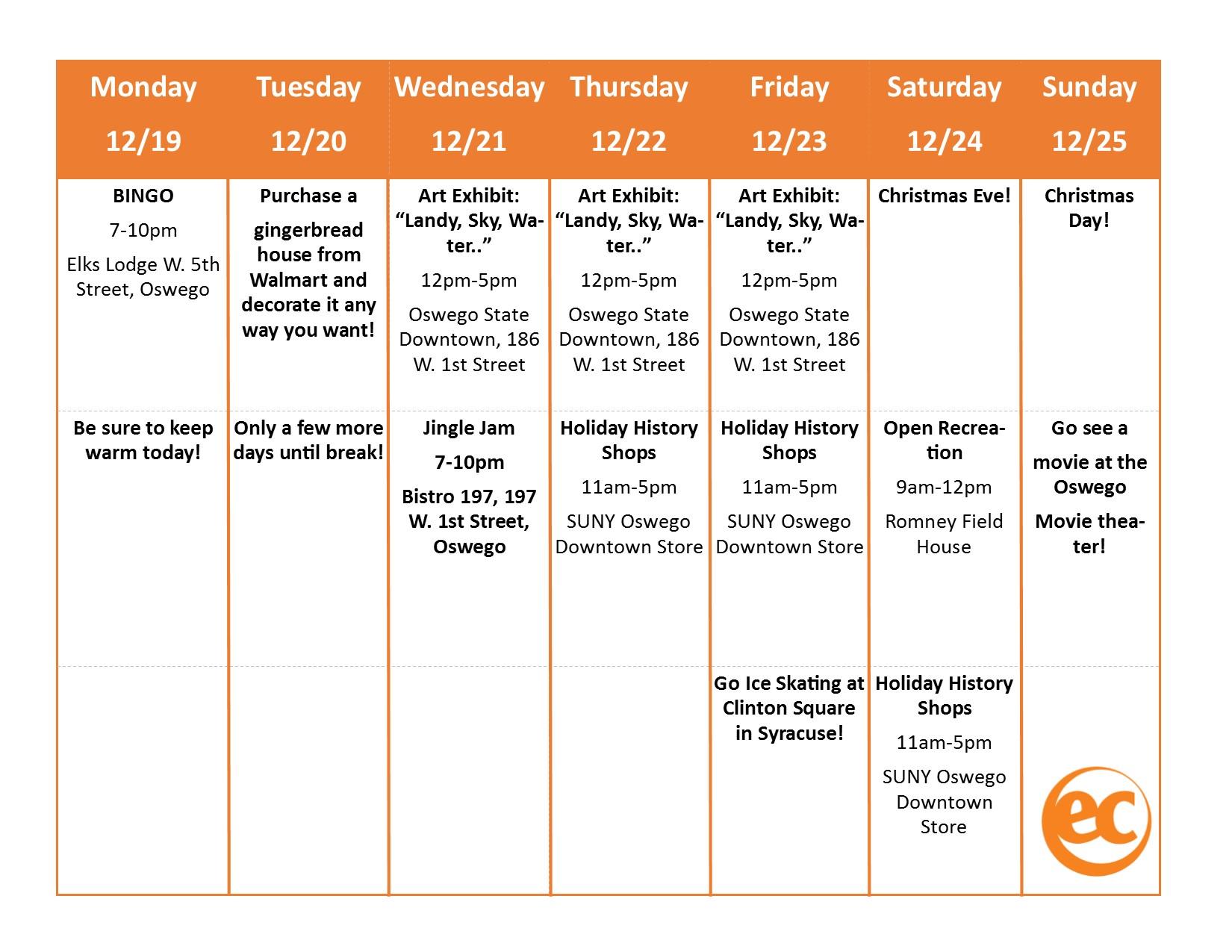 Weekly Activities - EC Oswego