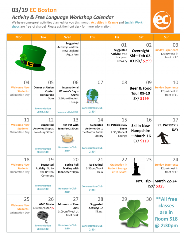Activity Calendar for English Students at EC Boston
