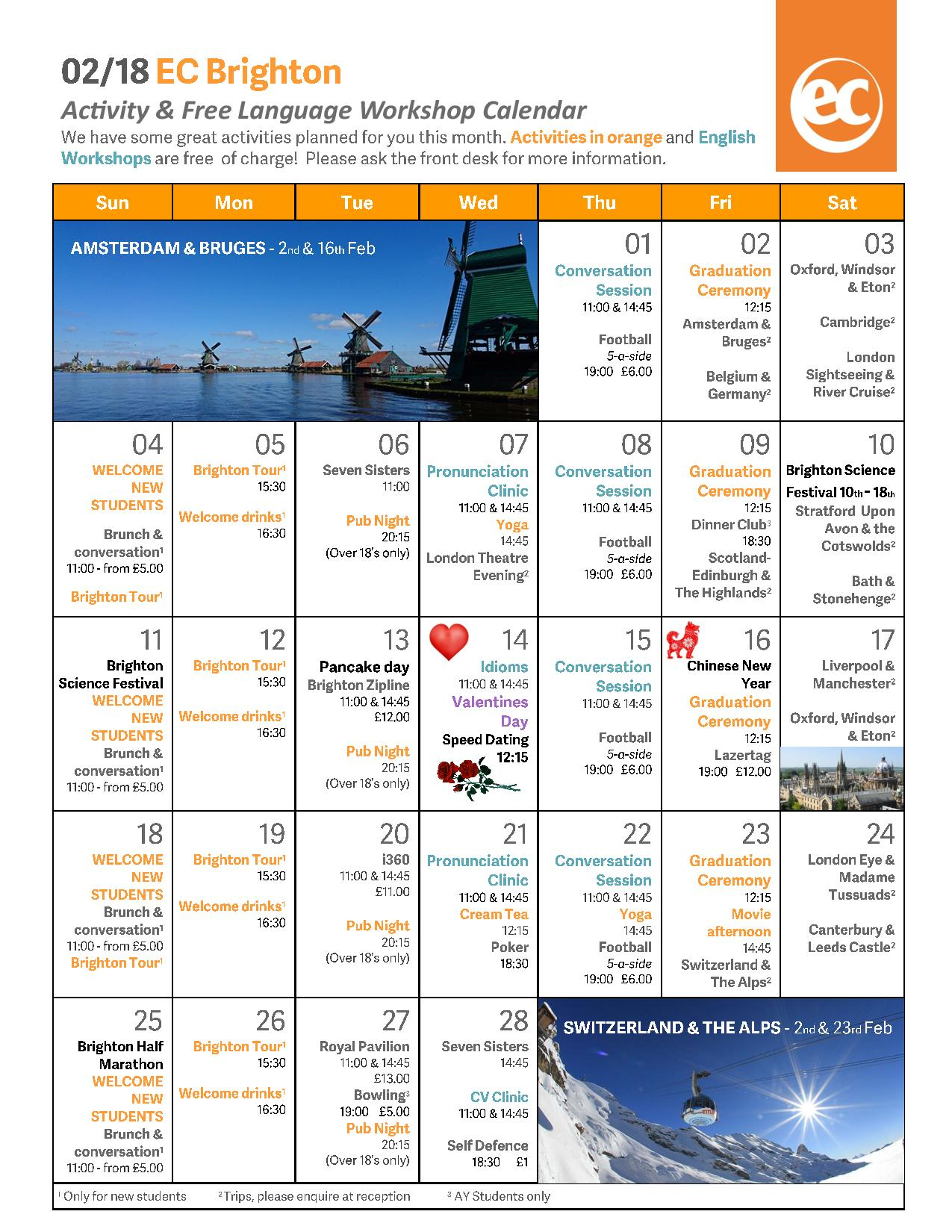 EC Brighton February Activities Calendar