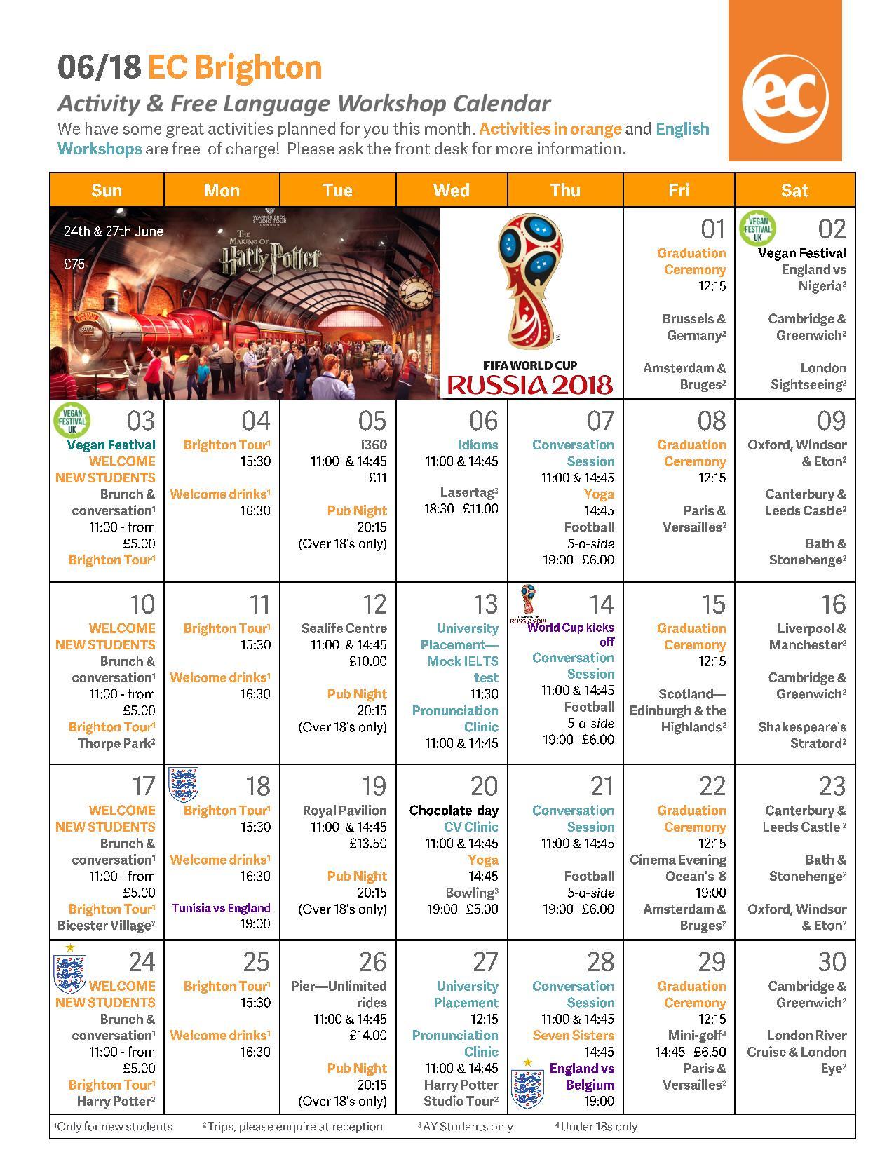 June Activities Calendar EC Brighton