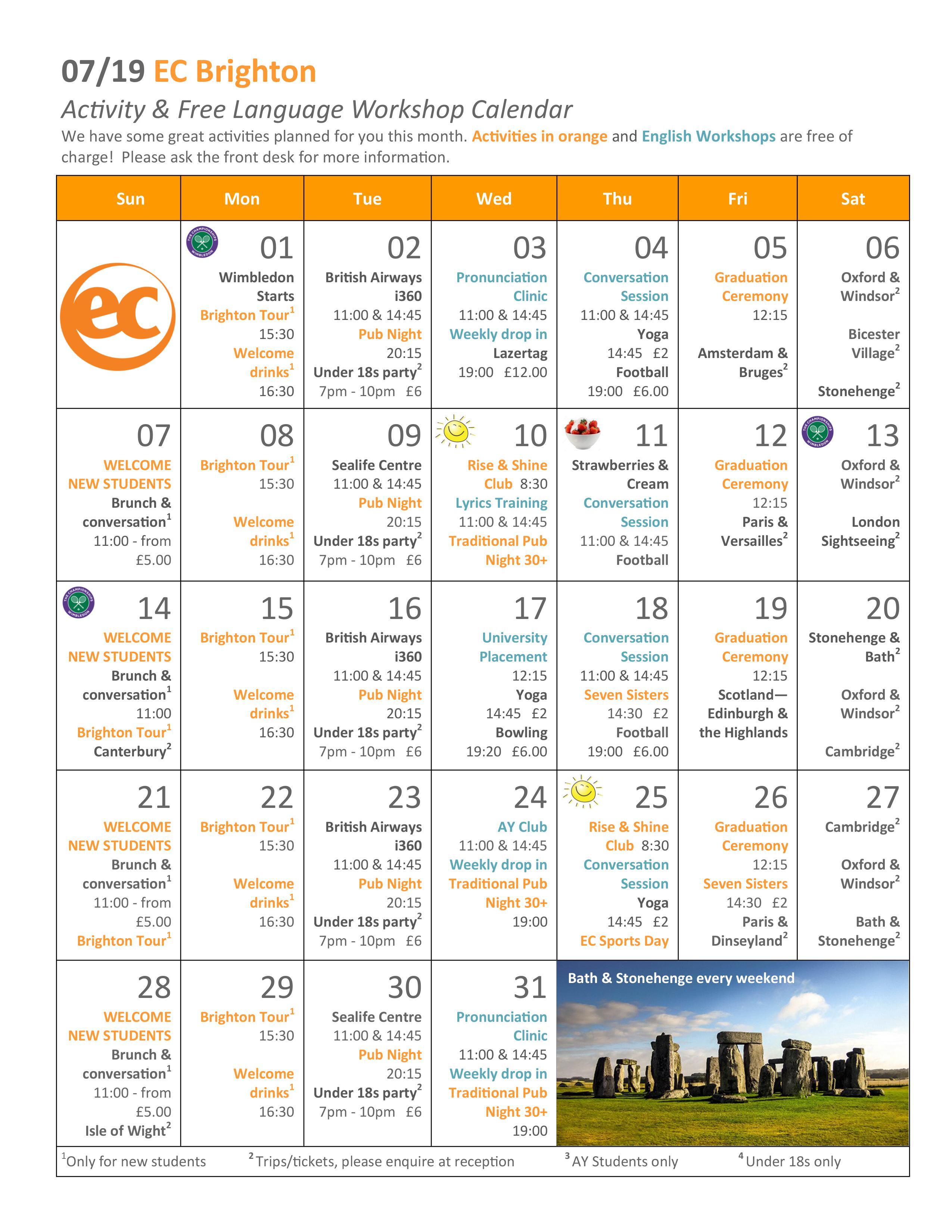 EC Brighton July Activities Calendar - EC Brighton