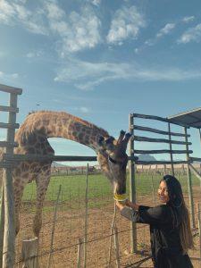 Leticia and her giraffe.