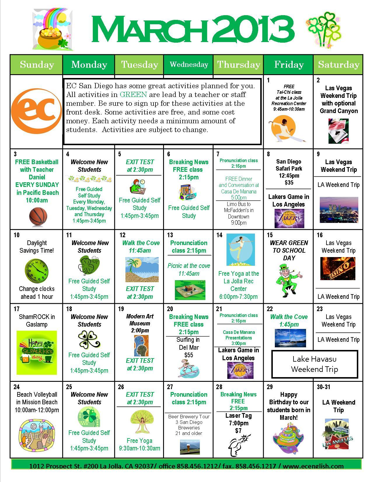 March Calendar Ideas : March calendar ec san diego
