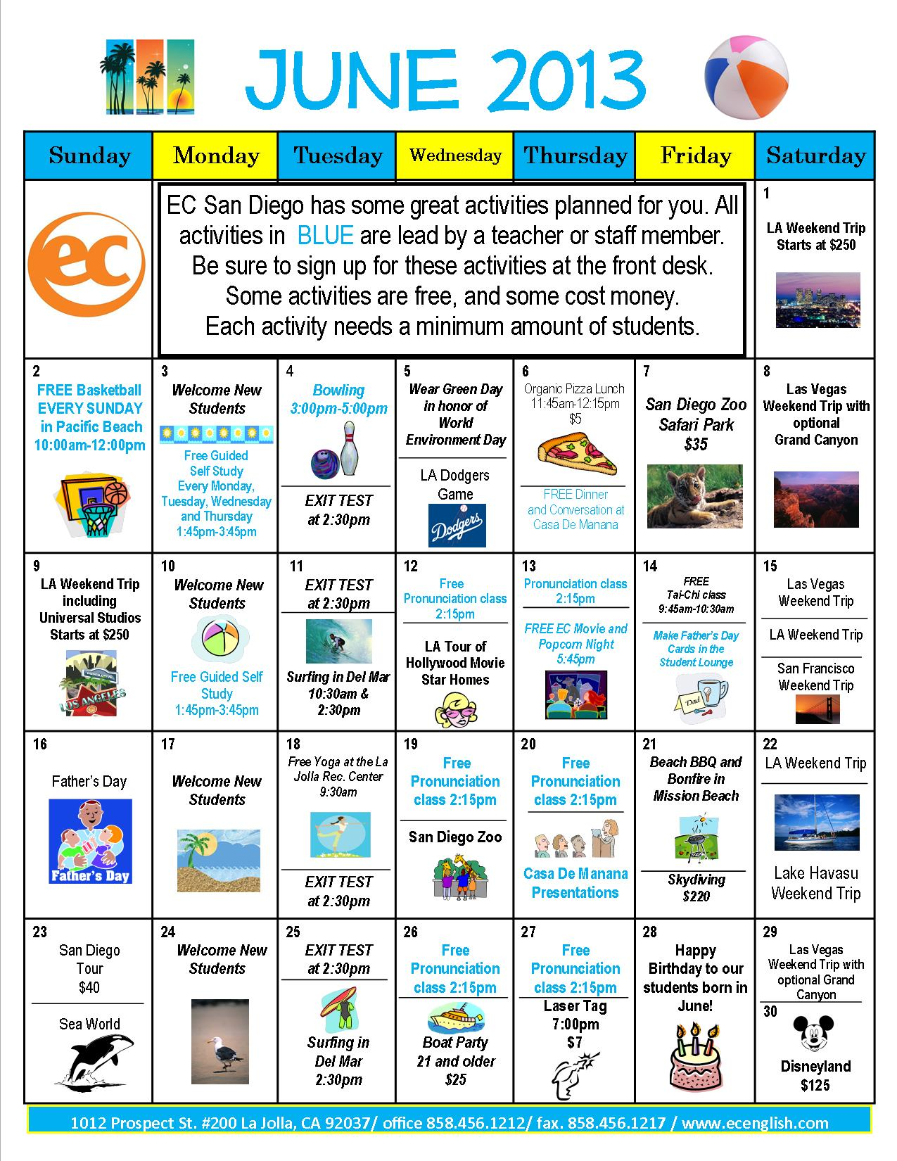 Calendar Activities Esl : June calendar of activities ec san diego