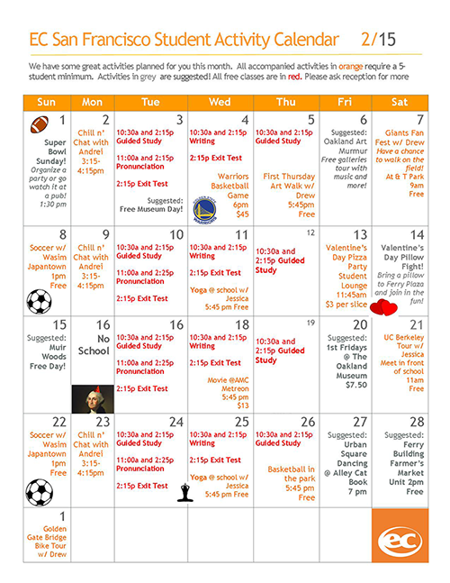 EC San Francisco Activity Calendar February 2015