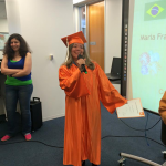 Maria took English classes in San Francisco and graduates today