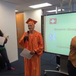 Benjamin took English classes in San Francisco and graduates today