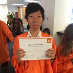 Tomohiro took English classes in San Francisco and graduates today
