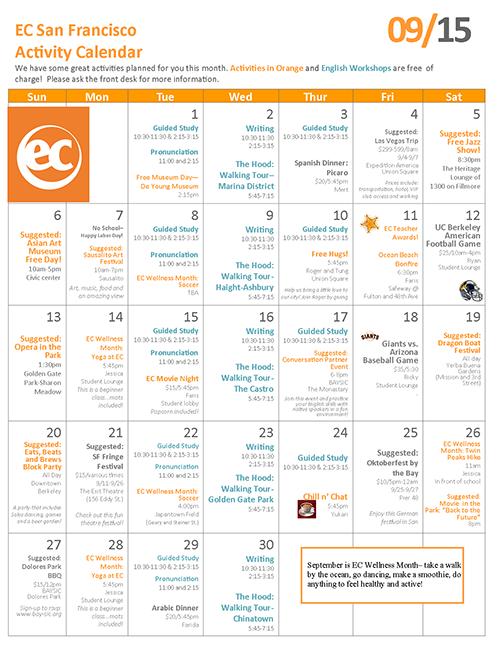 Calendar Activities Esl : Lots of activities while studying esl in san francisco