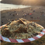 Eating Kabsa in EC San Francisco at the Beach