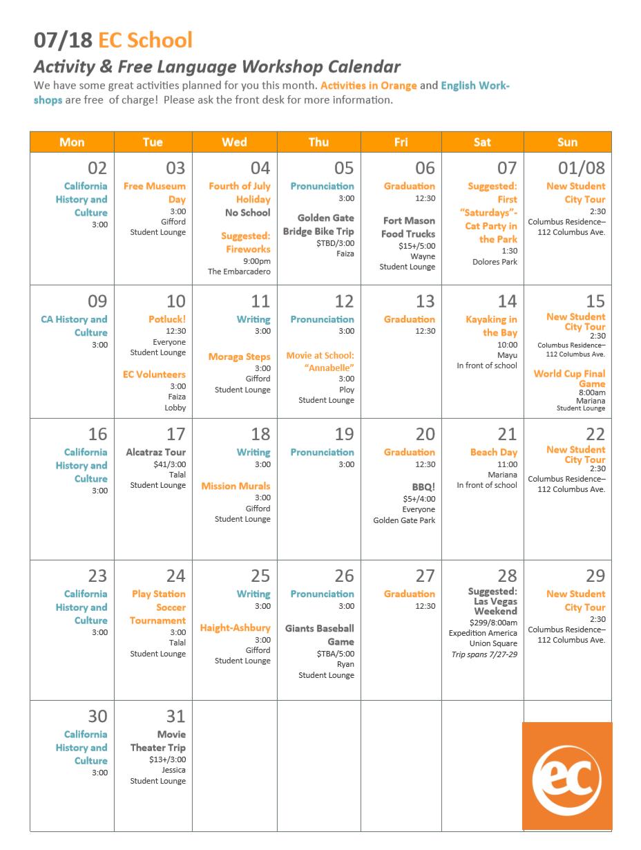 July Activity Calendar for EC San Francisco - EC San Francisco Blog