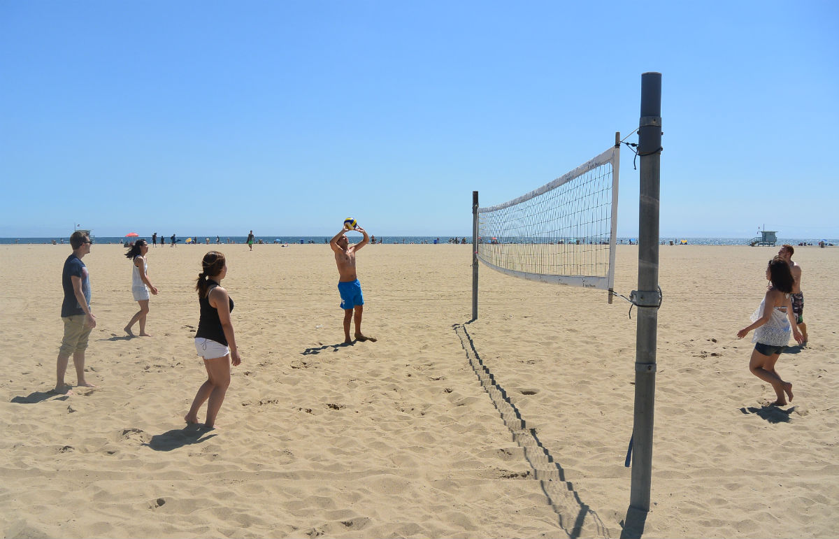 Volleyball On The Beach Ecla Students Playing At Santa Monica