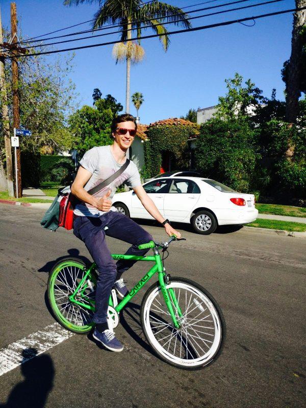 Alain biking around town!