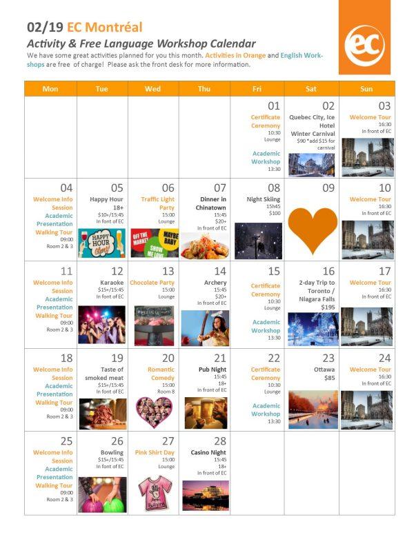 February Activities Calendar 2019 EC Montreal's February Calendar of Events!   EC Montreal Blog