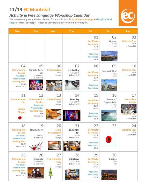 A Look At Ec Montreal S November Calendar Of Events Ec