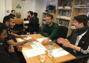 "Students from different classes discussing about many different topics during the ""Merging Classes"" initiative at the EC Oxford English Centre"