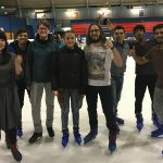 Students of EC Oxford English Centre playing ice skating!