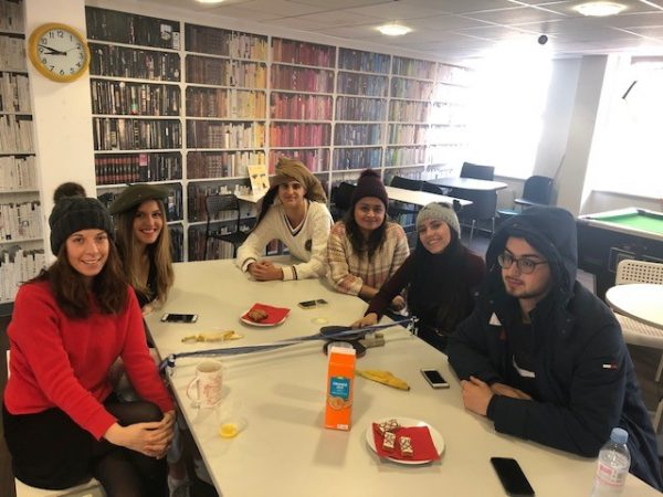 students at the table, breakfast club, EC Oxford