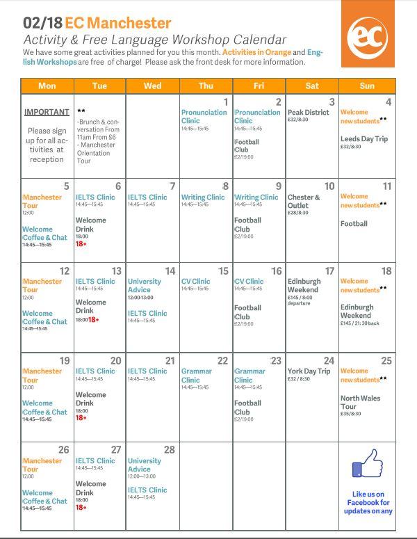 February Activity Calendar at EC Manchester