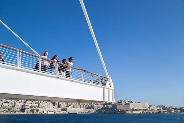EC Malta students taking in the magnificent sights across the bay, from Valletta to Sliema.
