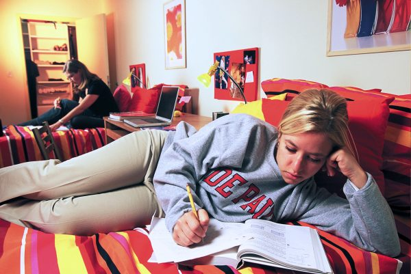 Studying in a student dorm room at DePaul.