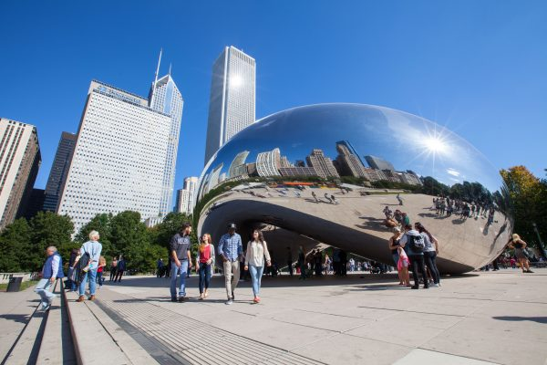 The Bean, one of the most famous sights in the city of Chicago.